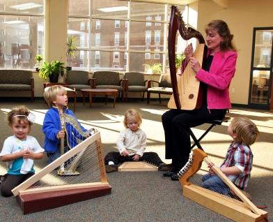 Children with harps image